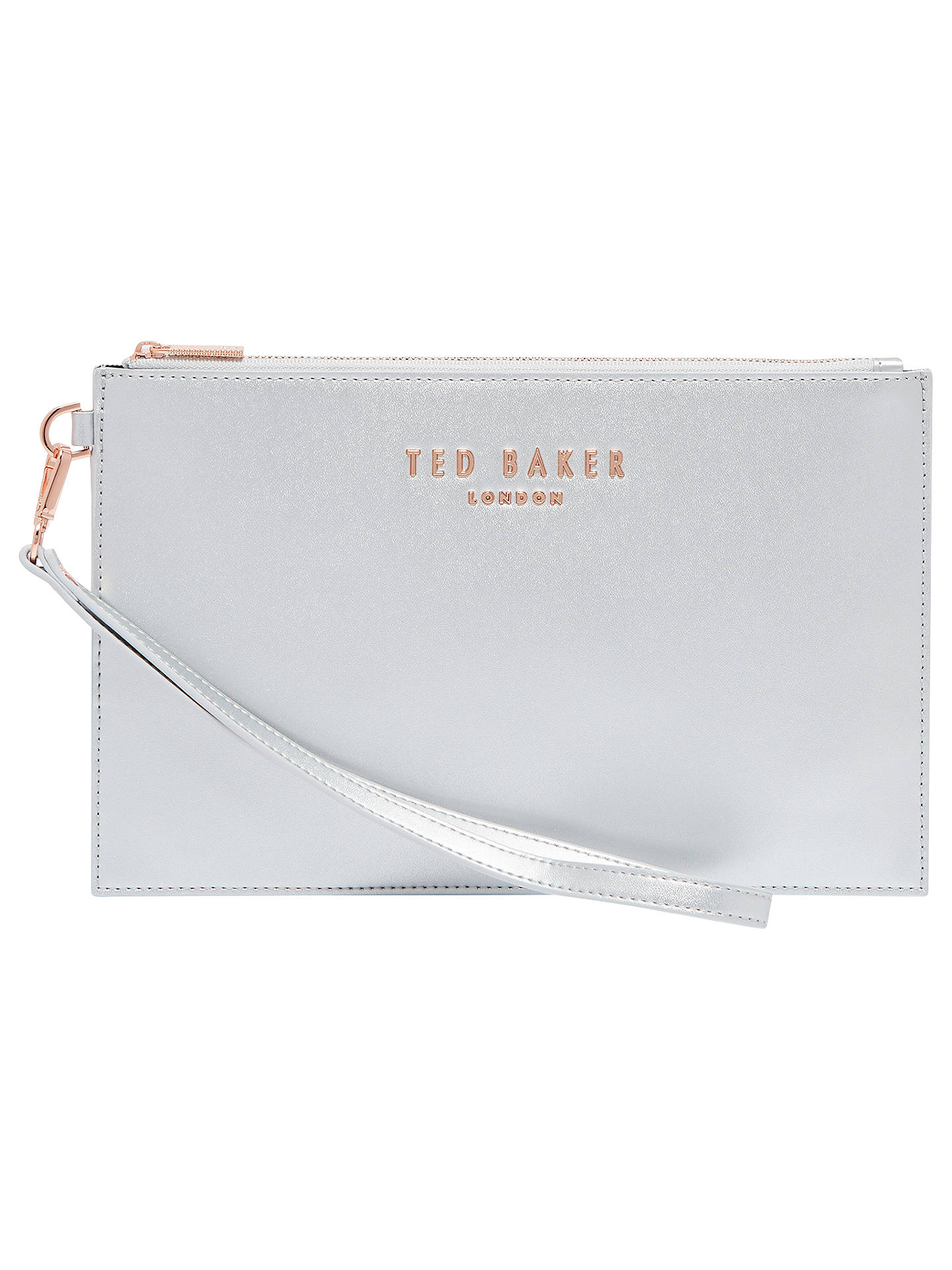 3f62be557 Buy Ted Baker Emerey Leather Wristlet Pouch, Silver Online at johnlewis.com  ...