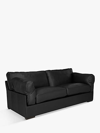 John Lewis & Partners Java Large 3 Seater Leather Sofa, Dark Leg
