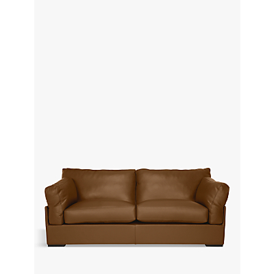 John Lewis Java Large 3 Seater Leather Sofa, Dark Leg