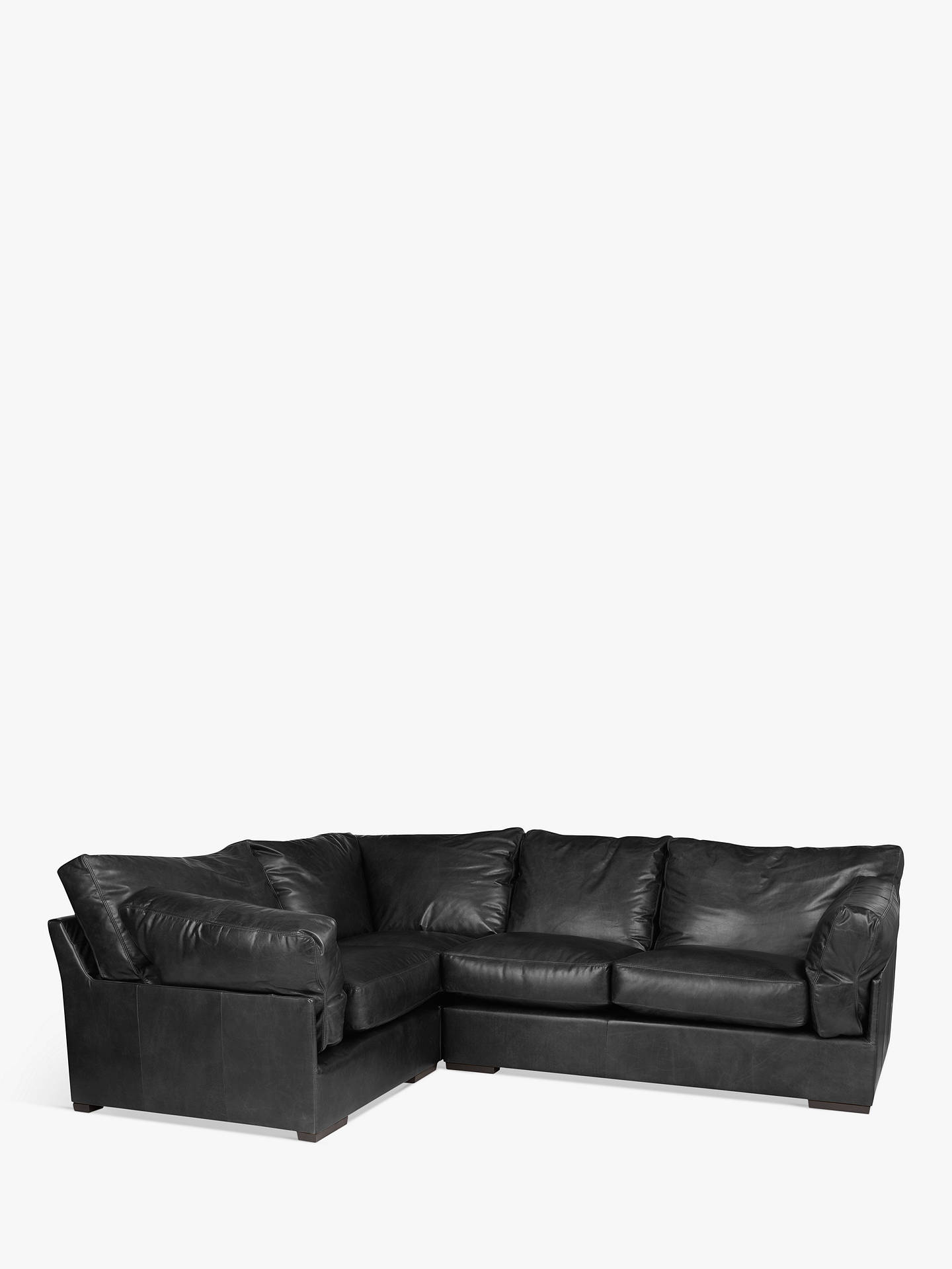 John Lewis & Partners Java LHF Corner Leather Sofa, Dark Leg, Contempo Black