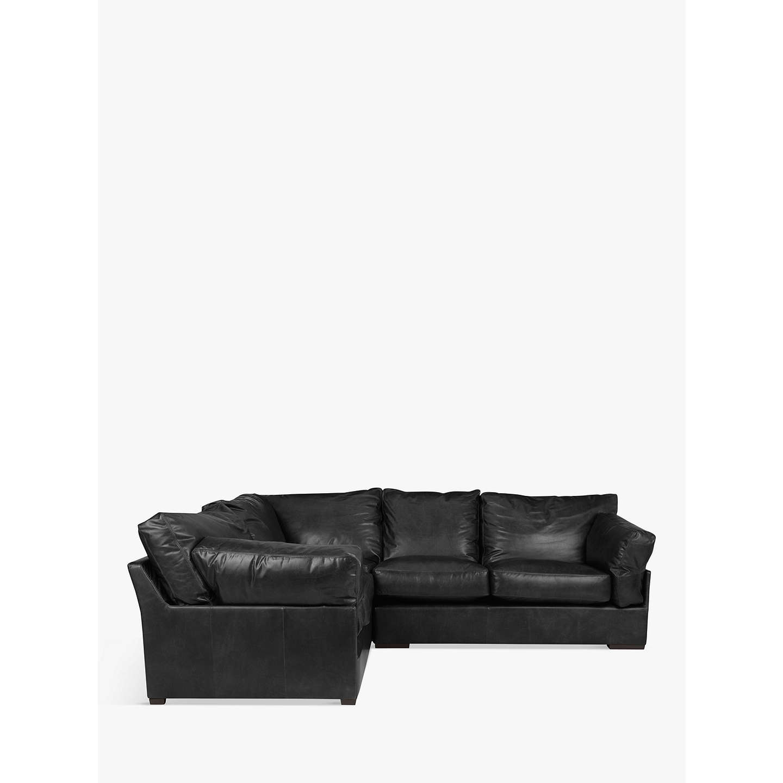 John Lewis Java Lhf Corner Leather Sofa Dark Leg Contempo Black Online At Johnlewis