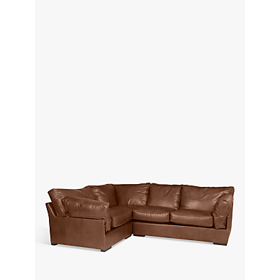 John Lewis Java LHF Corner Leather Sofa, Dark Leg