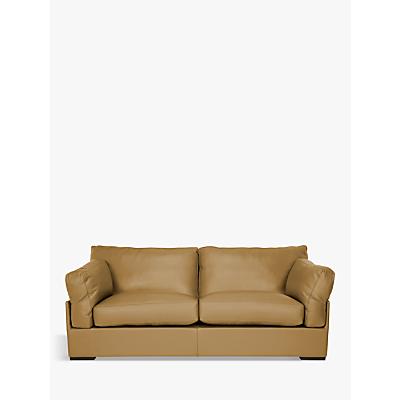 John Lewis Java Large 3 Seater Leather Sofa, Dark Leg
