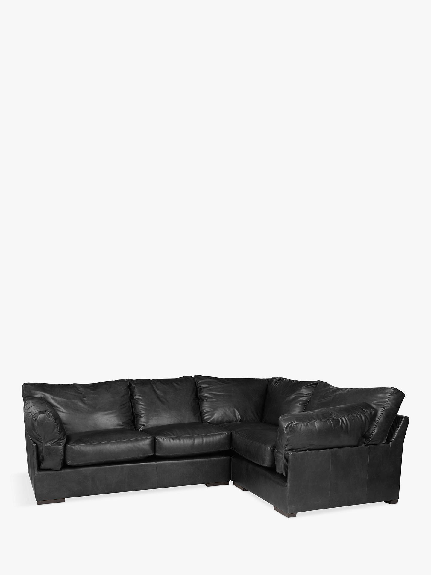 John Lewis & Partners Java RHF Leather Corner Sofa, Dark Leg, Contempo Black