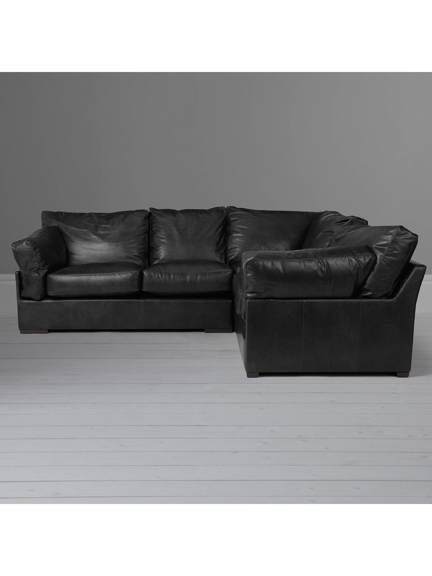 outlet store 17b76 10ed9 John Lewis & Partners Java RHF Leather Corner Sofa, Dark Leg, Contempo Black