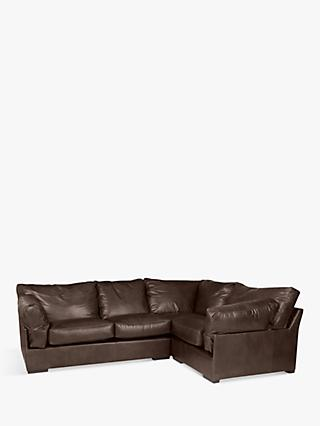 John Lewis & Partners Java RHF Leather Corner Sofa, Dark Leg