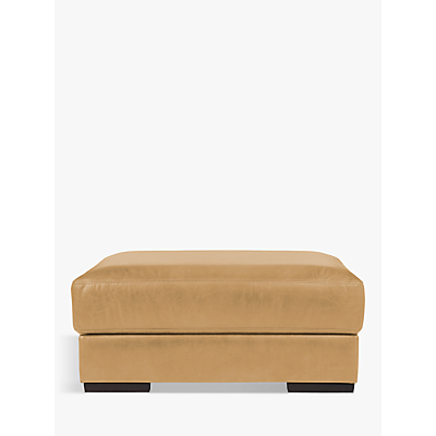 John Lewis Java Leather Footstool, Dark Leg