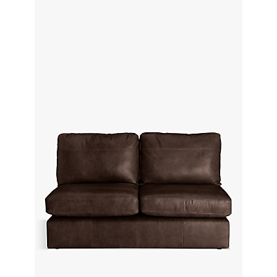 John Lewis Oliver Armless Leather Medium 2 Seater Unit, Dark Leg