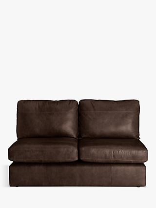 House by John Lewis Oliver Armless Leather Medium 2 Seater Unit, Dark Leg