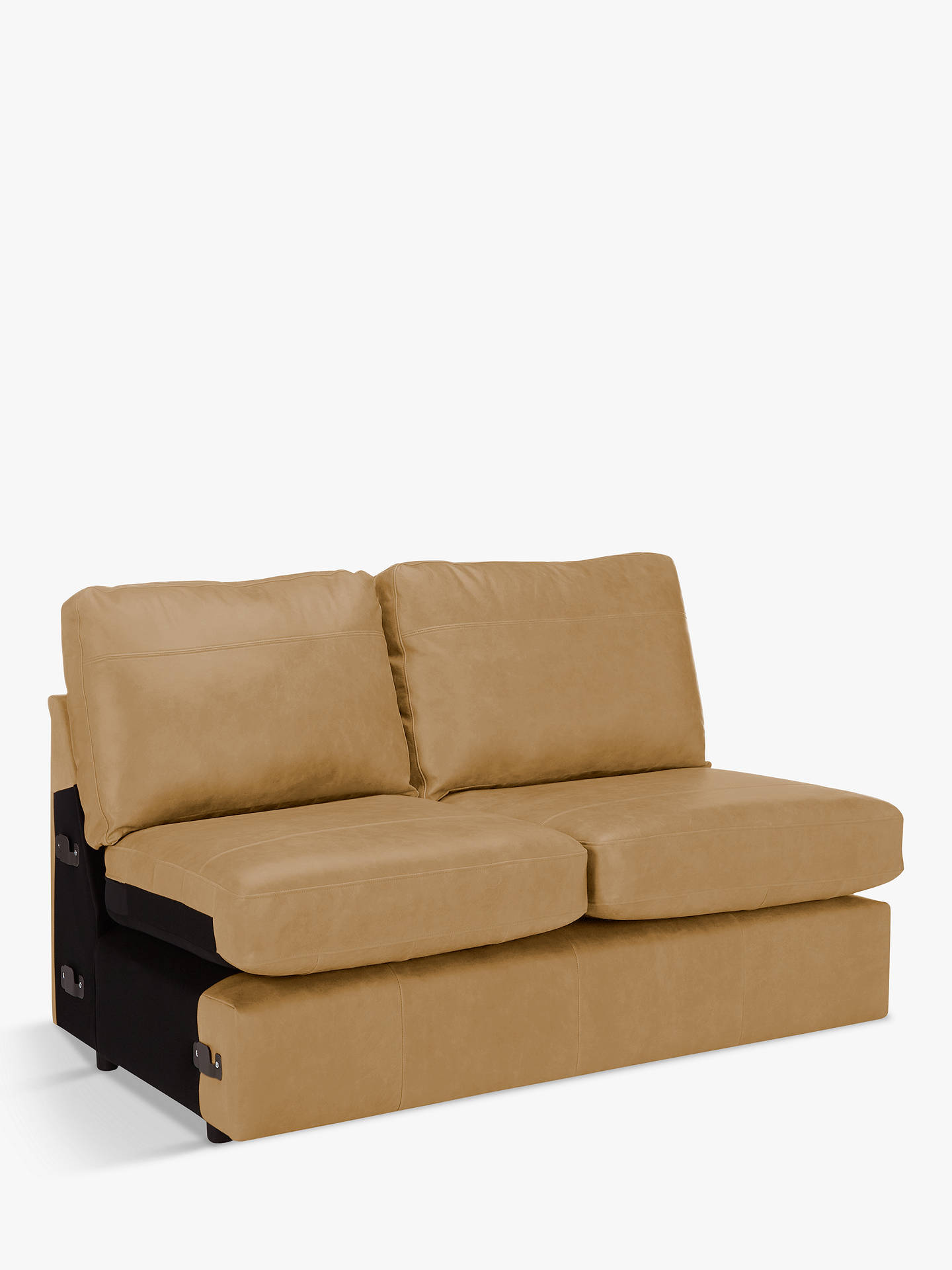 Buy House by John Lewis Oliver Armless Leather Medium 2 Seater Unit, Dark Leg, Sellvagio Parchment Online at johnlewis.com