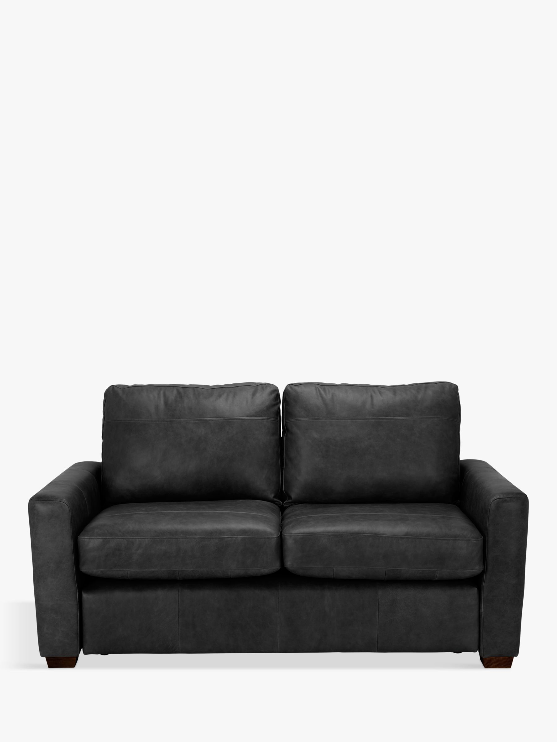 House by John Lewis Oliver Small 2 Seater Leather Sofa, Dark Leg, Contempo Black