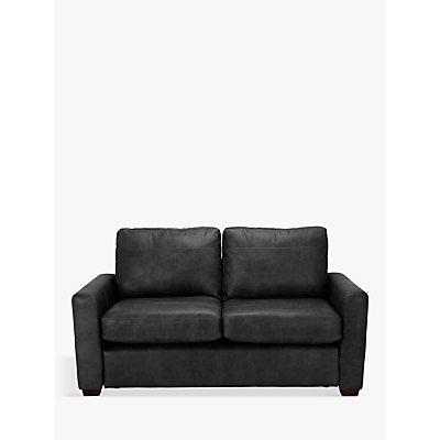 John Lewis Oliver Leather Small 2 Seater Sofa, Dark Leg