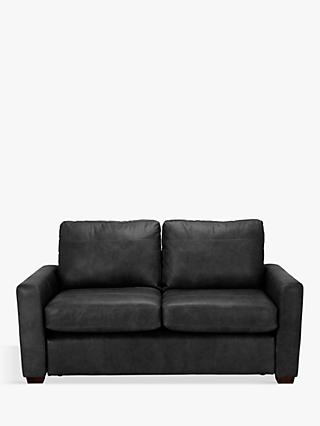 House by John Lewis Oliver Leather Small 2 Seater Sofa, Dark Leg