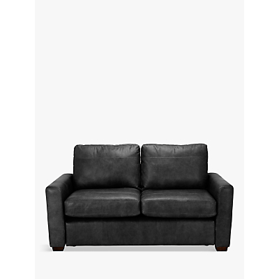 John Lewis Oliver Leather Small 2 Seater Sofa, Dark Leg