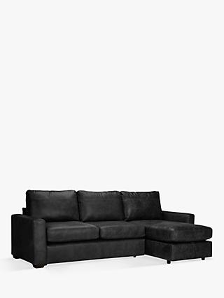 House by John Lewis Oliver Leather Storage Chaise Sofa Pack, Dark Leg