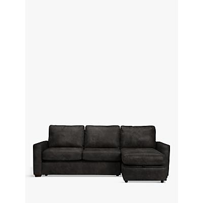 John Lewis Oliver Leather Storage Chaise Sofa Pack, Dark Leg