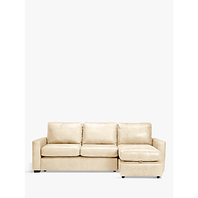 John Lewis Oliver Leather Storage Chaise Sofa Pack, Dark Leg