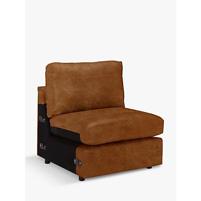 John Lewis & Partners Oliver Leather Modular Armless Chair Unit, Dark Leg