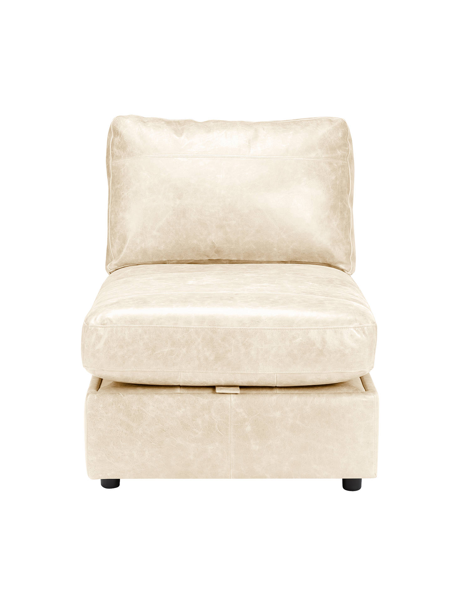 Buy House by John Lewis Oliver Leather Modular Storage Chaise Unit, Dark Leg, Contempo Ivory Online at johnlewis.com