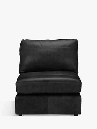 House by John Lewis Oliver Leather Modular Armless Chair Unit, Dark Leg