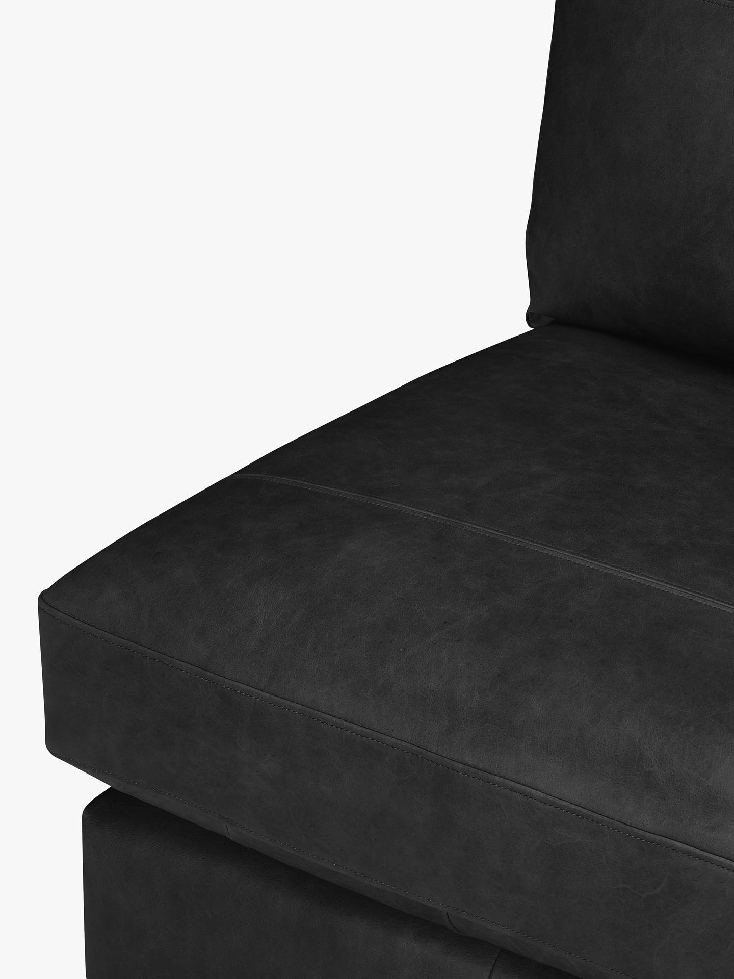 Buy House by John Lewis Oliver Leather Modular Armless Chair Unit, Dark Leg, Contempo Black Online at johnlewis.com