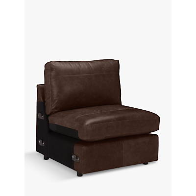 John Lewis & Partners Oliver Leather Modular Armless Chair Unit, Dark Leg