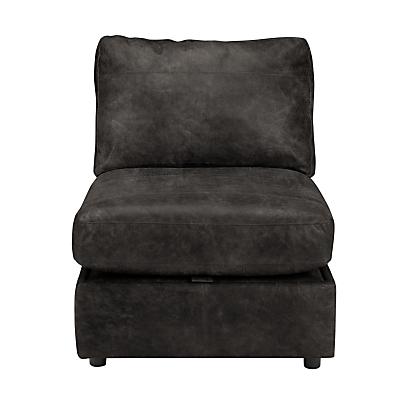 John Lewis & Partners Oliver Leather Modular Storage Chaise Unit, Dark Leg
