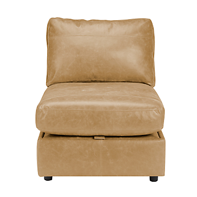 John Lewis Oliver Leather Modular Storage Chaise Unit, Dark Leg