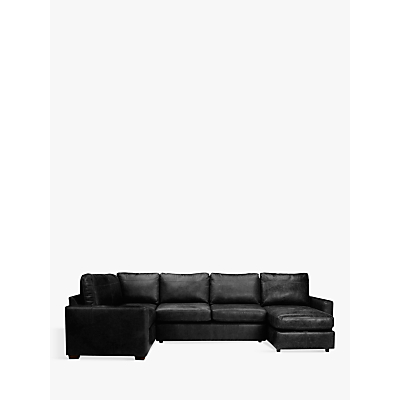 John Lewis Oliver Leather Medium Corner Storage Chaise Pack, Dark Leg