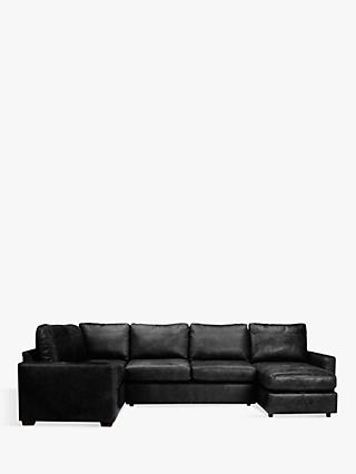 House by John Lewis Oliver Leather Medium Corner Storage Chaise, Dark Leg