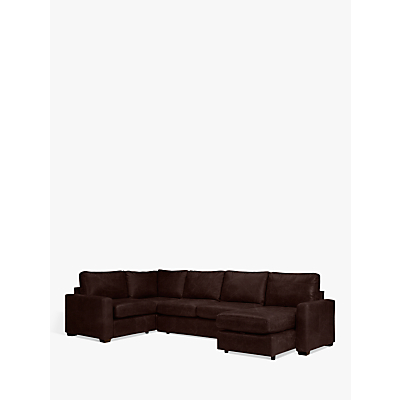 John Lewis & Partners Oliver Leather Medium Corner Storage Chaise, Dark Leg