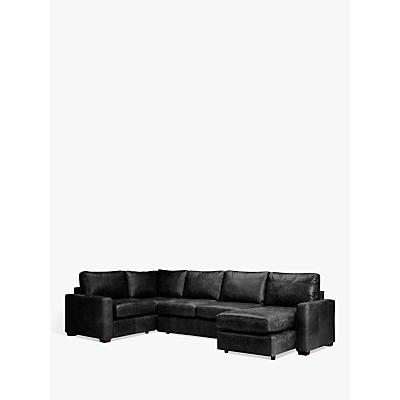 John Lewis Oliver Leather Medium Corner Storage Chaise Pack, Dark Leg