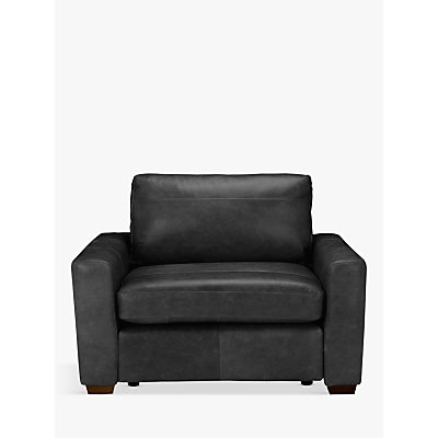 John Lewis & Partners Oliver Leather Snuggler, Dark Leg