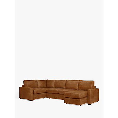 John Lewis & Partners Oliver Leather Medium Corner Storage Chaise, Dark Leg