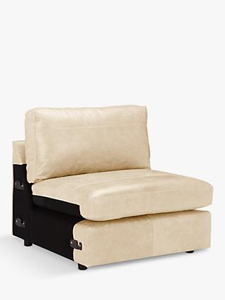 House by John Lewis Oliver Leather Modular Armless Snuggler Unit, Dark Leg