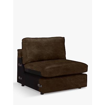John Lewis Oliver Leather Modular Armless Snuggler Unit, Dark Leg