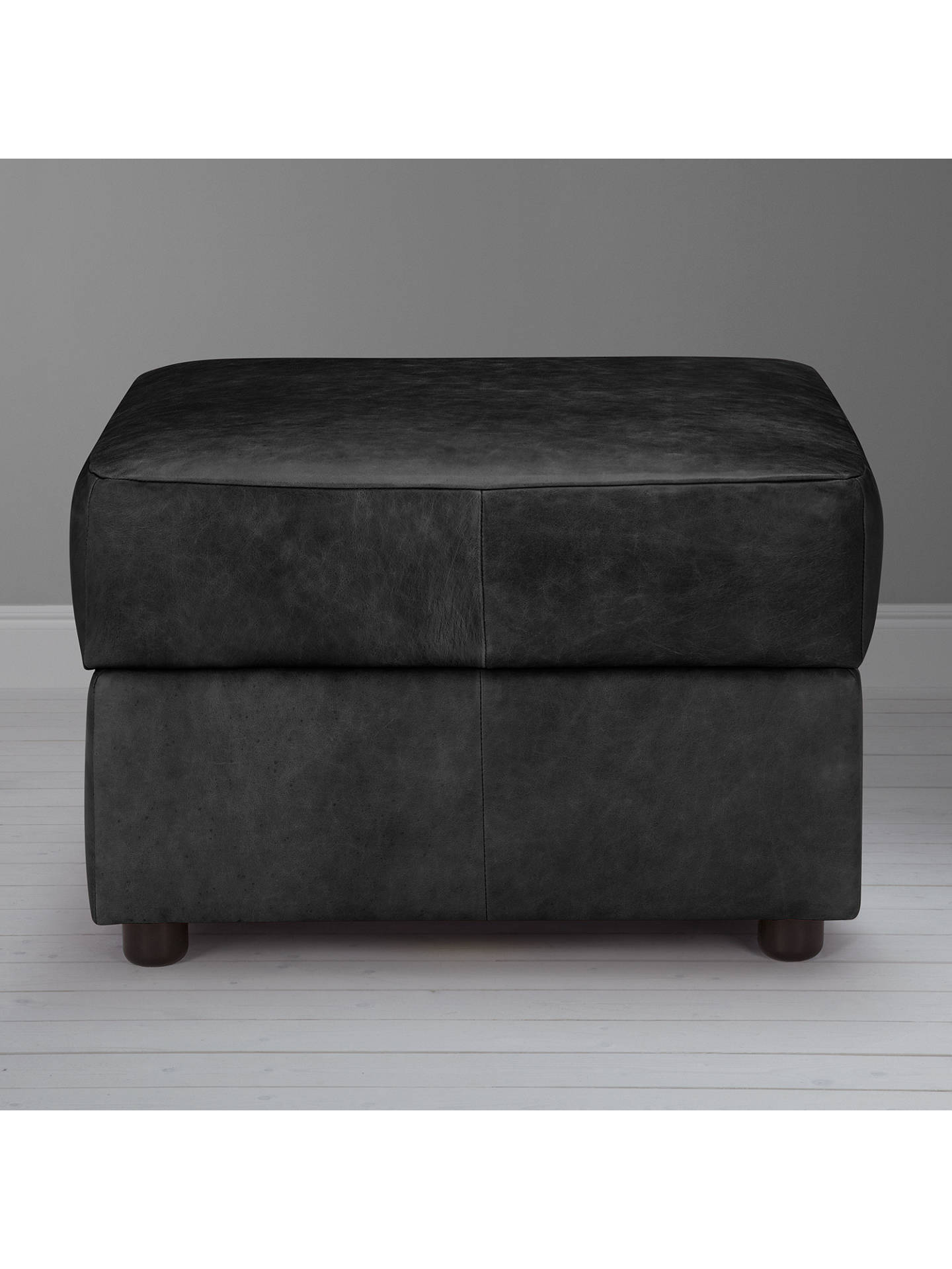 BuyJohn Lewis & Partners Oliver Leather Modular Storage Stool Unit, Dark Leg, Contempo Black Online at johnlewis.com