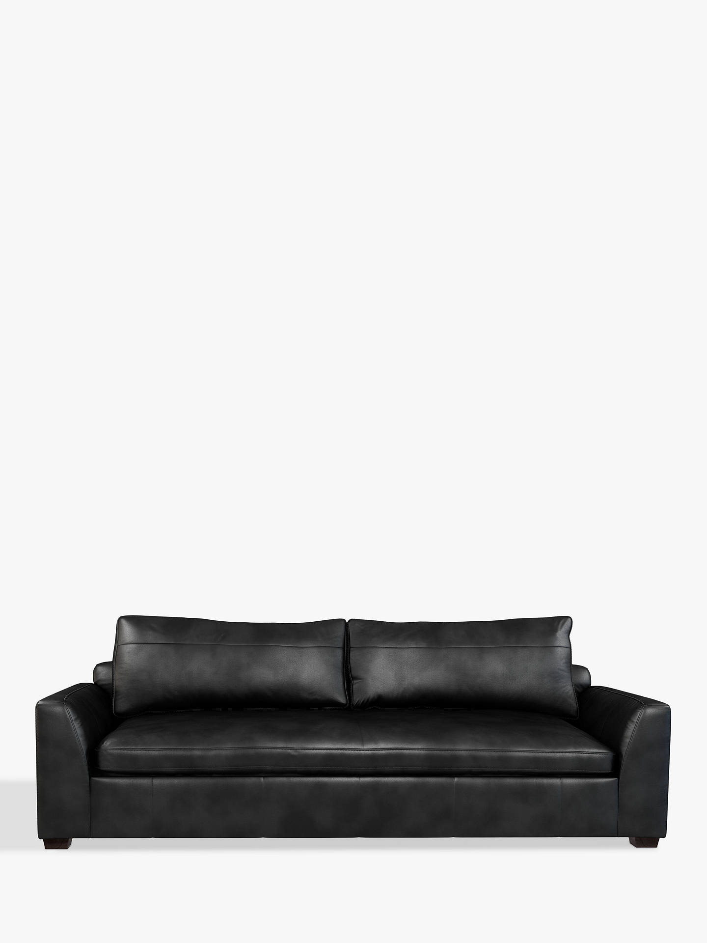 John Lewis & Partners Tortona Leather Grand 4 Seater Sofa, Contempo Black