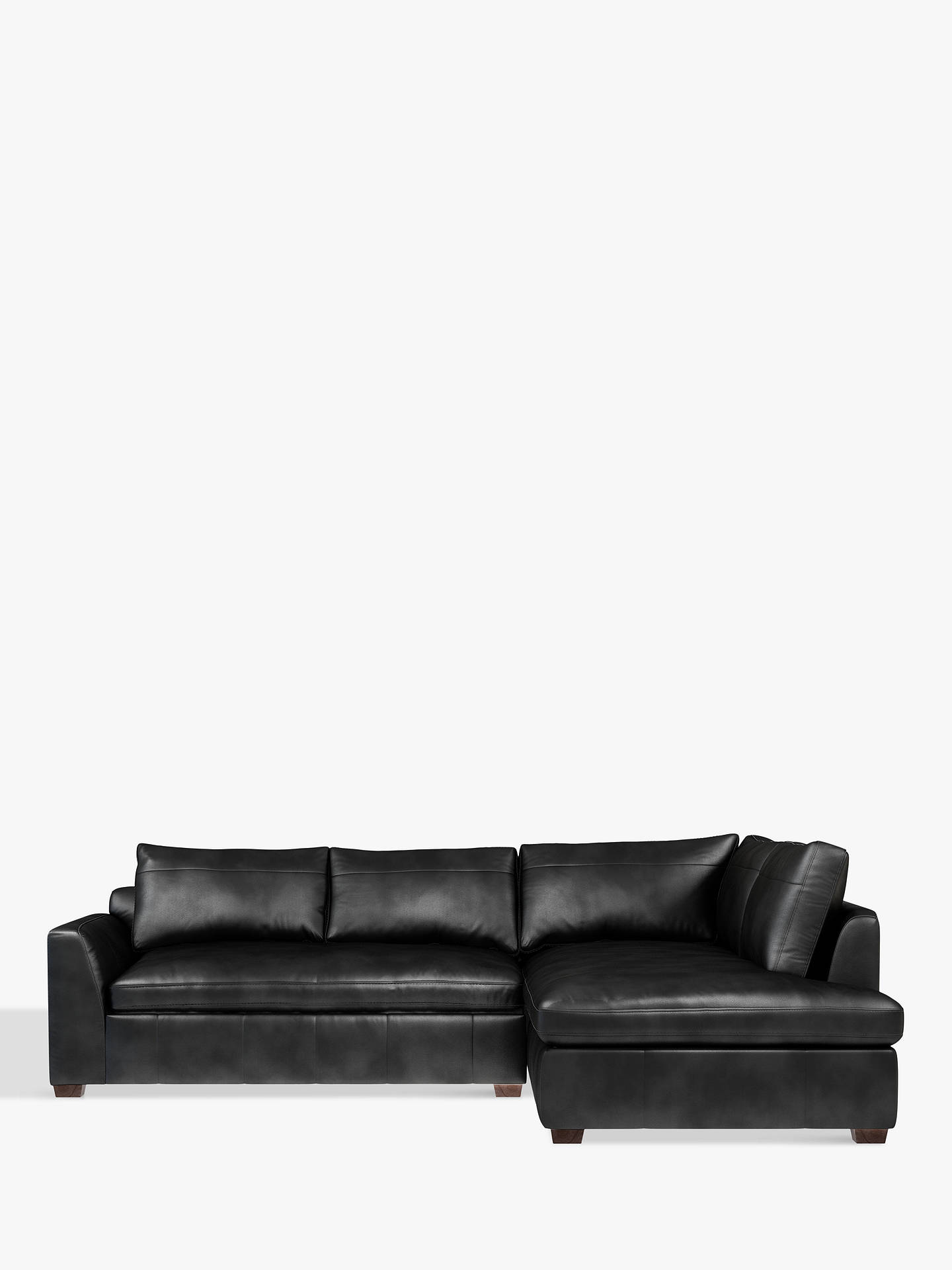 John Lewis & Partners Tortona Leather RHF Chaise End Sofa, Contempo Black