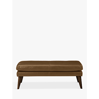 John Lewis Dale Contemporary Leather Footstool, Dark Leg