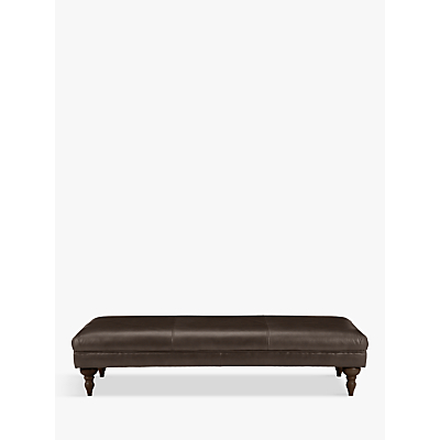 John Lewis Hensley Grand Classic Leather Footstool, Dark Leg