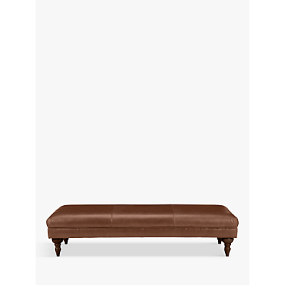 John Lewis & Partners Hensley Grand Classic Leather Footstool, Dark Leg