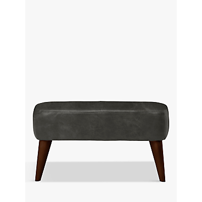 John Lewis & Partners Bergen Leather Footstool, Dark Leg
