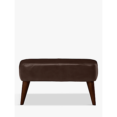 John Lewis Bergen Leather Footstool, Dark Leg