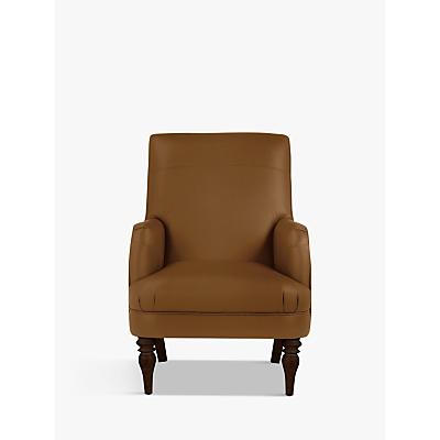 John Lewis Sterling Leather Armchair, Dark Leg