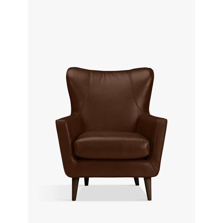 BuyJohn Lewis Thomas Leather Wing Chair, Dark Leg, Contempo Castanga Online  At Johnlewis.