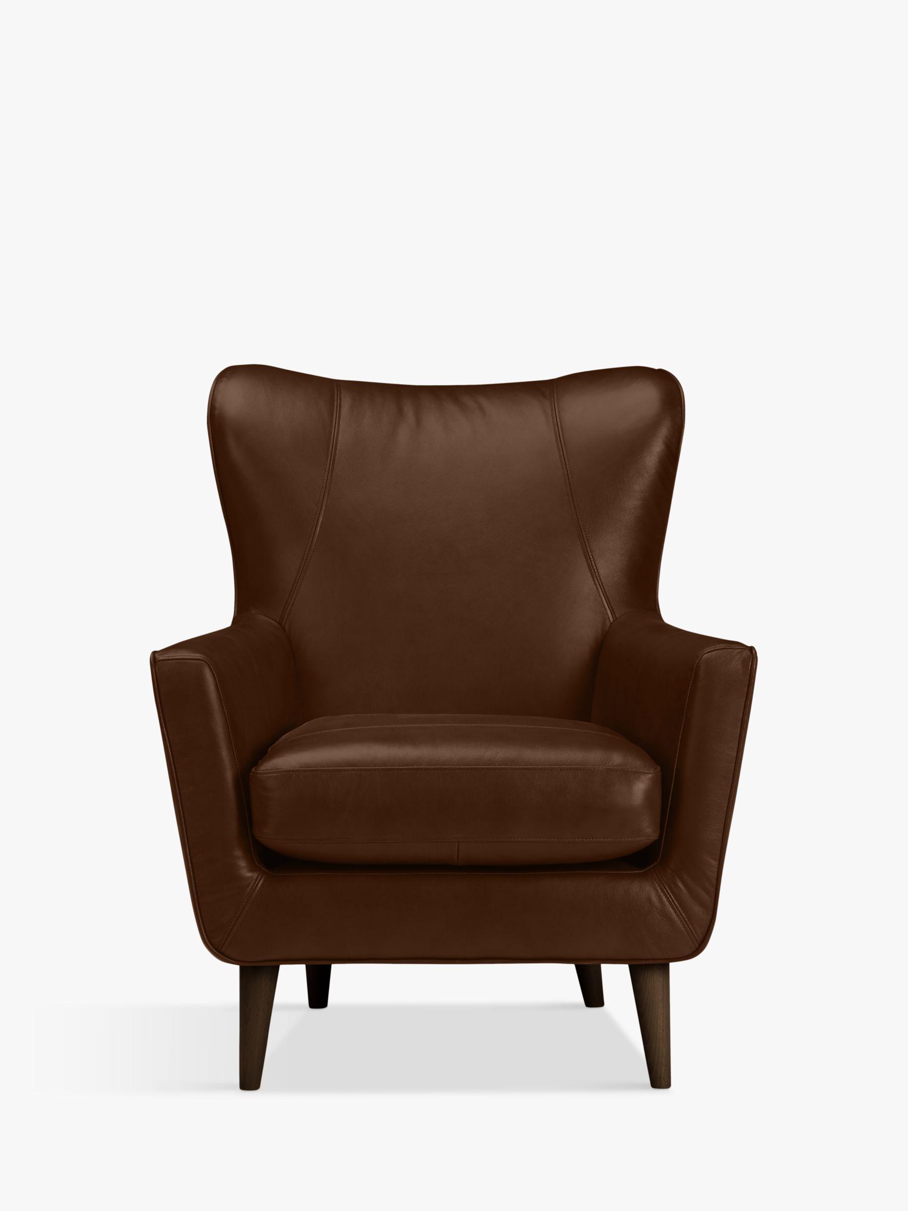 John Lewis Partners Thomas Leather Wing Chair Dark Leg