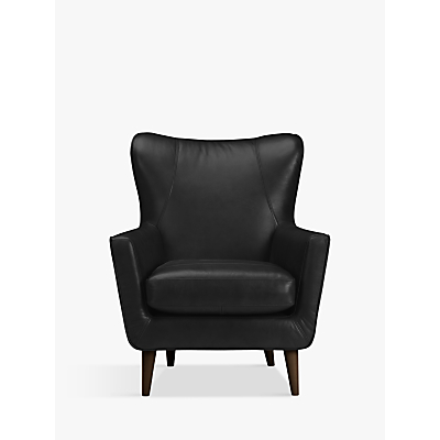 John Lewis & Partners Thomas Leather Wing Chair, Dark Leg