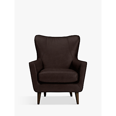 John Lewis Thomas Leather Wing Chair, Dark Leg