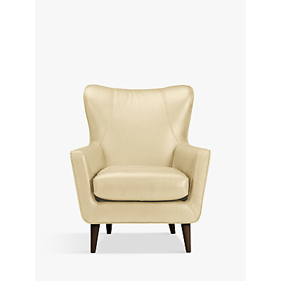 John Lewis Thomas Leather Wing Chair, Dark Leg